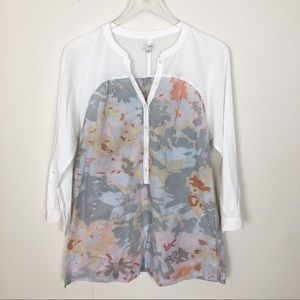 Anthropologie ofille floral camouflage top